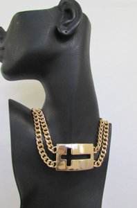 Women Gold Metal Short Double Strand Chain Fashion Necklace Cross Pendant