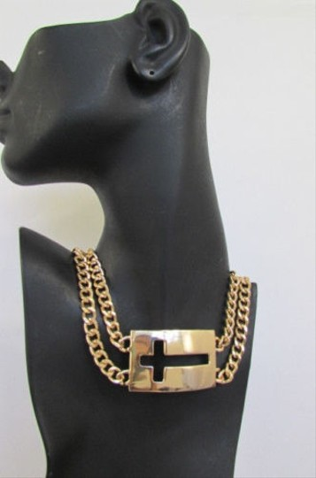 Other Women Gold Metal Short Double Strand Chain Fashion Necklace Cross Pendant