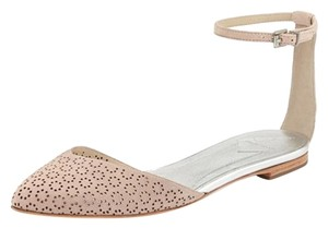 B Brian Atwood Ankle Strap Floralcut Creme Flats