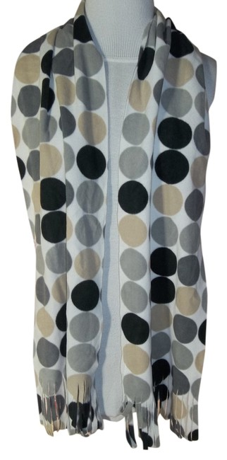 Item - Black/Gray/Tan Polka Dot Lightweight Fleece Scarf/Wrap