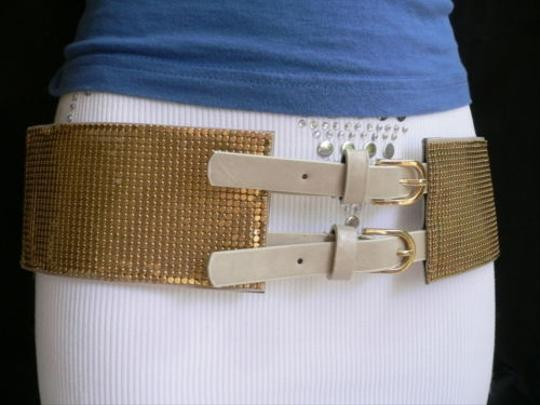 Other Women Waist Hip Metal Gold Mesh Elastic Wide Fashion Belt Double Buckle S-xl