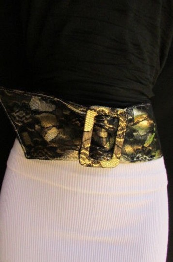 Other Women Hip Waist Black Lace Faux Leather Fashion Belt Metalic Gold 27-36