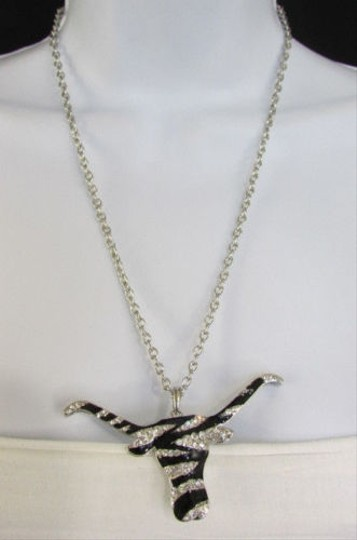 Other Women Silver Metal Chains Fashion Necklace Zebra Texas Bull Head Pendant