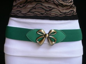 Other Women Elastic Hip Waist Western Green Thin Fashion Belt Bow 26-40 Xs-xl