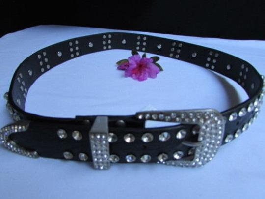 Other Women Black Faux Leather Western Fashion Belt Flower Rhinestones 30-36