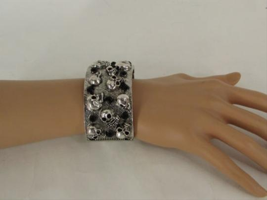 Other Women Antique Silver Skeleton Skull Bracelet Skeleton Fashion Black Rhinestones