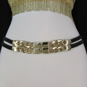 Women Gold Metal Chain Link Fashion Belt Black Elastic Hip Waist 28-38