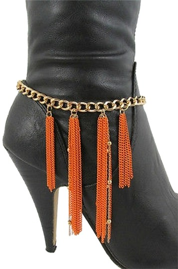 Other Western Gold Metal Boot Chain Single Strap Long Orange Fringes Shoe Charm