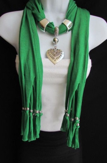 Other Women Necklace Soft Fabric Scarf Big Heart Green Blue Pink