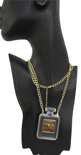 Other Women Gold Chain Fashion Necklace Clear Plastic Perfume Bottle No 5 Pendant