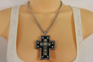 Other Women Silver Metal Chain Long Fashion Necklace Big Rhinestones Cross Pendant
