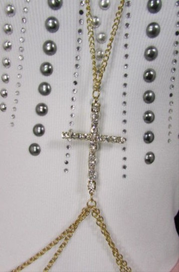 Other Women Gold Long Body Chain Silver Rhinestones Cross Fashion Jewelry
