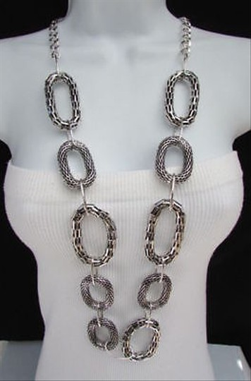 Other Women Necklace 20 Long Fashion Silver Big Metal Loop Chains Belt -