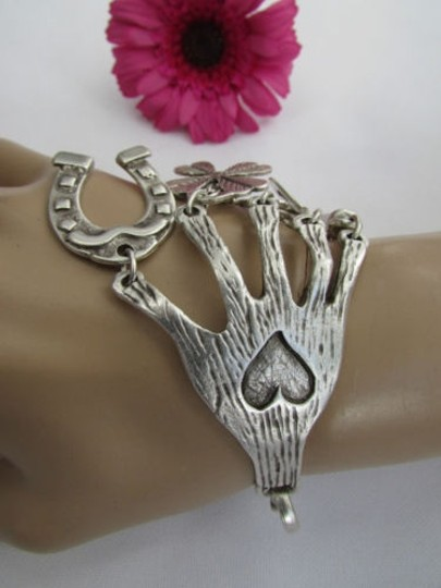 Other Women Rusty Silver Metal Luck Fashion Wrist Bracelet Heart Horseshoe Hamsa