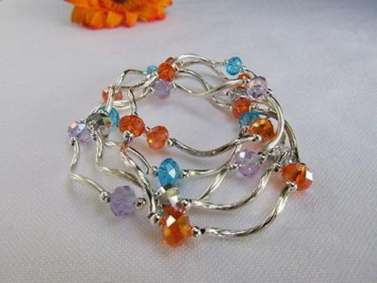Other Women Silver Orange Blue Lavander Beads Fashion Jewelry Five Bangles Bracelets