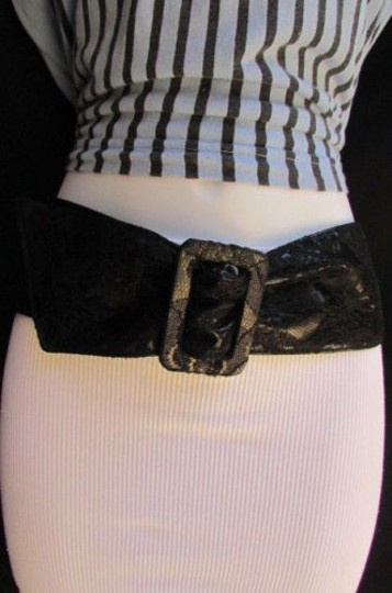 Other Women Hip High Waist Wide Black Lace Faux Leather Fashion Belt 27-36