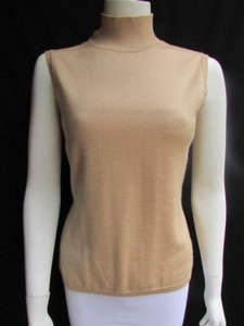 Bill Blass Women Sleeveless Fashion Knit Sweater Turtleneck 406 Top Beige