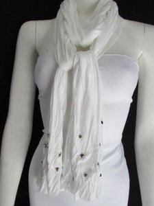 Women Soft Fabric Fashion White Scarf Long Necklace Silver Metal Star Studs