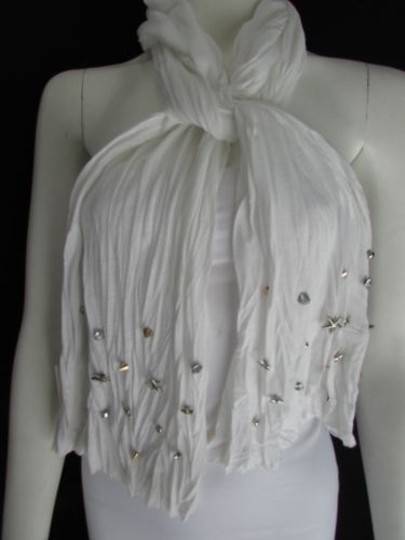 Other Women Soft Fabric White Scarf Long Necklace Silver Metal Star Studs