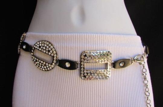Other Women Hip Waist Black Braided Silver Square Circle Fashion Belt