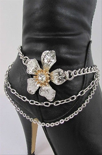 Other Silver Metal Boot Multi Chains Single Strap Big Flower Shoe Charm
