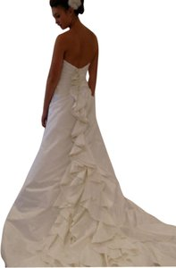 Rivini Sz 14/16 Ruffle Back Silk Shantung Strapless Aline Rivini Alyne Wedding Dress