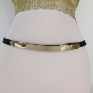Women Gold Silver Metal Plate Narrow Fashion Thin Belt Plus 30-45