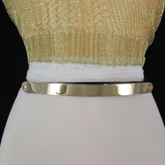 Other Women Gold Silver Metal Plate Narrow Fashion Thin Belt Plus Size