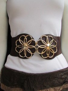 Other Women Hip Waist Thick Gold Metal Flowers Cut Fashion Brown Belt 27-37