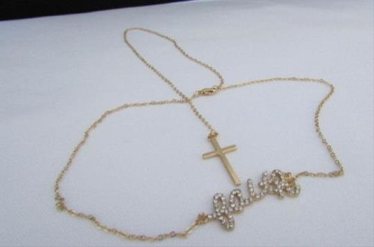 Other Women Sides Fashion Necklace Gold Chains Front Faith Pendants Back Cross