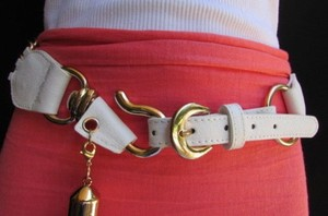 Women Hip Waist White Belt Faux Leather Fashion Western Chunky Gold Chains