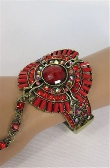 Other Women Gold Metal Hand Chain Round Cuff Slave Bracelet Red Ring Big Beads