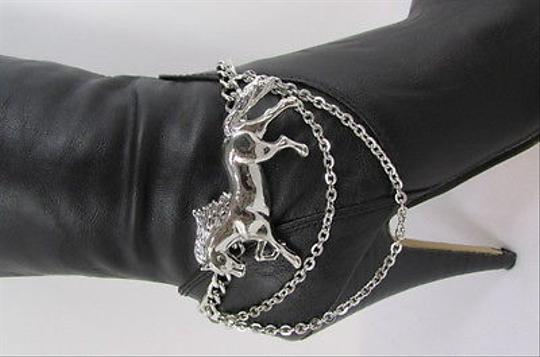 Other Western Fashion Silver Metal Boot Chains Single Strap Big Horse Shoe Charm