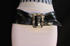 Other Women Hip Waist Black Lace Faux Leather Fashion Belt Metal Blue 27-36