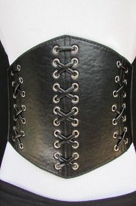 Other Women Elastic High Waist Fashion Wide Corset Belt 7 Wide Black Sizes