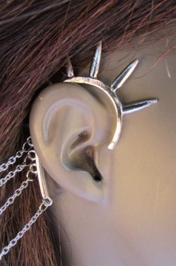 Other Women Silver Chains Spikes Cuff Earring To Hair Pin Connected Headband Claw