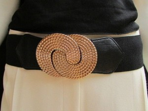 Women High Waist Hip Black Elastic Fashion Belt Gold Metal Buckle 25-35