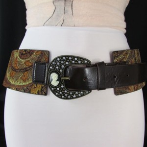 Women Brown Faux Leather Wide Western Fashion Belt Mini Antique Cameo