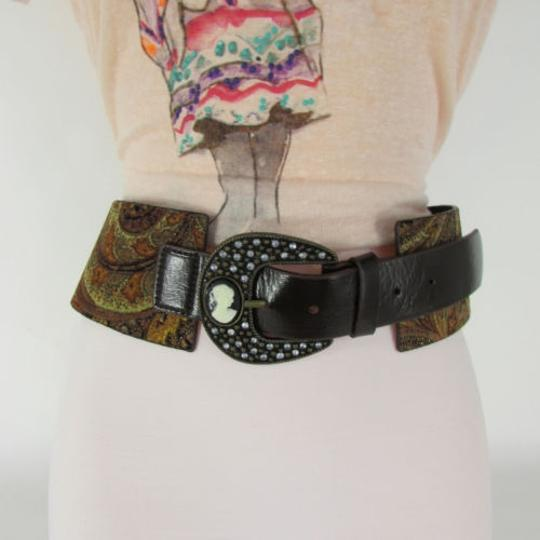 Other Women Brown Leather Wide Western Fashion Belt Mini Antique