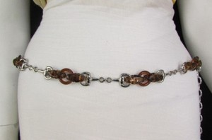 Women Chunky Brown Thick Silver Plastic Chains Fashion Belt Hip High Waist