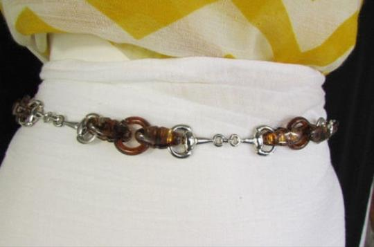 Other Women Chunky Brown Thick Silver Plastic Chains Fashion Belt Hip High Waist