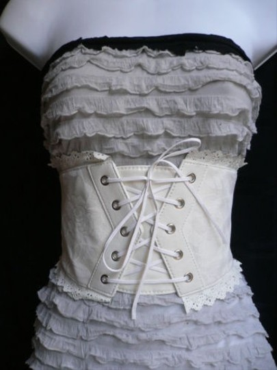 Other Women White Wide Corset Flowers Lace Fashion Belt