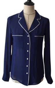 Lucca Couture Button Down Shirt blue and white