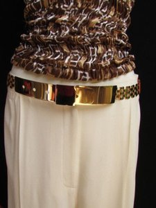 Other Women High Waist Hip Gold Metal Plate Links Belt Elastic Brown 26-36