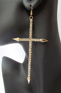 Other Women Big Cross Fashion Earring Set Silver Gold Rhinestones Spikes Tips