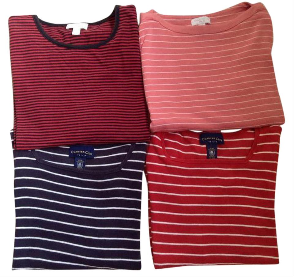 2a2c5c885028f Charter Club Multicolor 4 For 1 Special Short Elbow Long-sleeve Comfy Combo Tee  Shirt