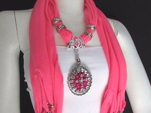 Women Pink Fabric Long Scarf Fringe Necklace Silver Pink Bead Cross Pendant