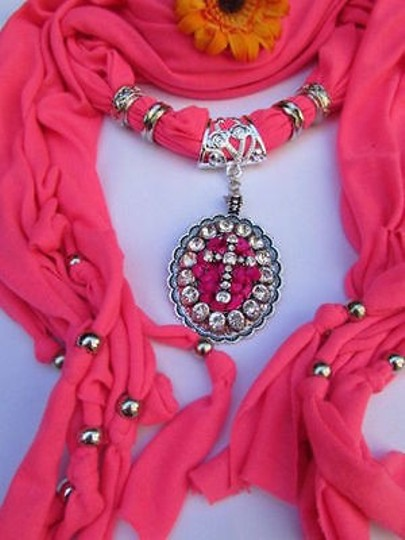 Other Women Pink Fabric Long Scarf Fringe Necklace Cross Pendant