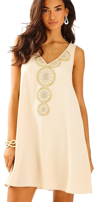 Item - Beige Nude Embroidered Short Casual Dress Size 0 (XS)