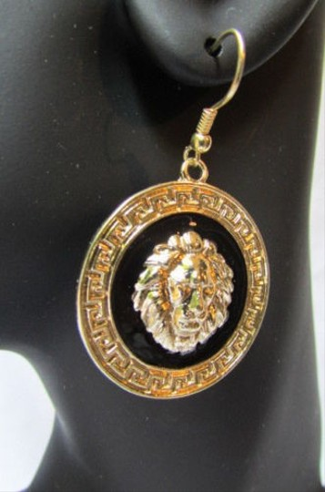 Other Women Earring Lion Head Gold Black Face Round Circle